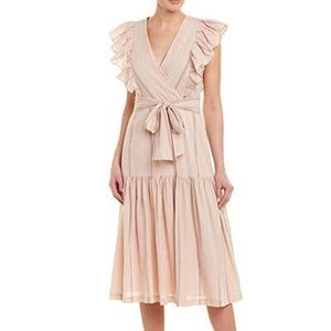 Rebecca Taylor Striped Flutter Sleeve Midi Dress